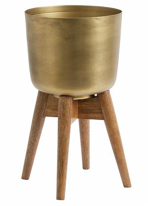 Vaso porta piante con treppiede in legno