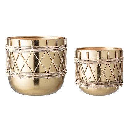 Set vasi in metallo dorato