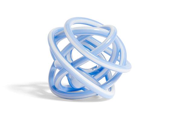 Nodo scultura di vetro azzurro large
