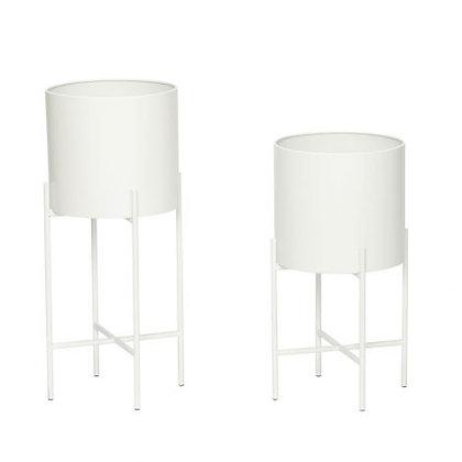 Set 2 vasi porta piante metallo bianco