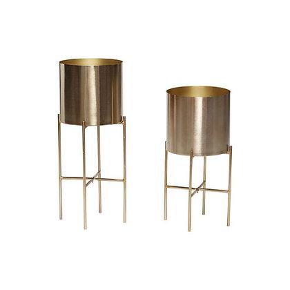 Set 2 vasi porta piante ottone