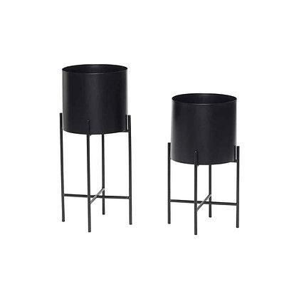 Set 2 vasi porta piante metallo nero