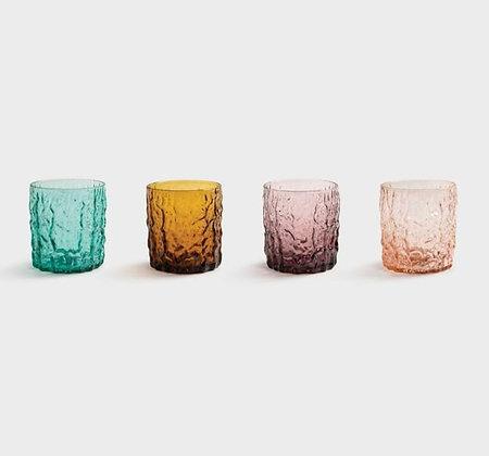 Set 4 bicchieri vetro tronco