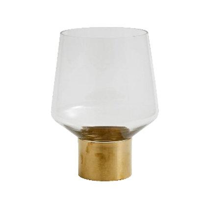 Vaso vetro base in ottone