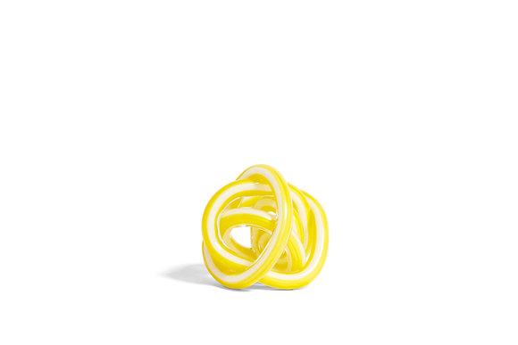 Nodo scultura di vetro giallo small