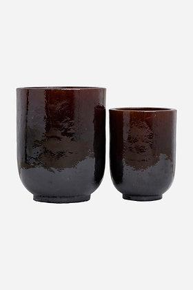 Set 2 vasi in ceramica smaltata