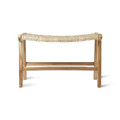 Pouf in legno di teak e paglia