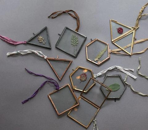 Cornice porta foto set 3 forme geometriche in ottone