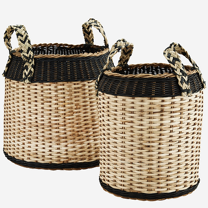Set 2 cesti in rattan con manici