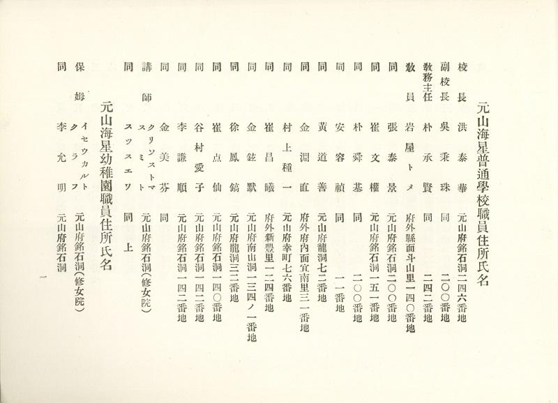 30 원산해성보통학교유치원수녀직원명부