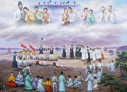 제물진두 순교성지 역사를 기록화 형식으로 표현한 김종은 작가 작품 '제물진두 순교자'.