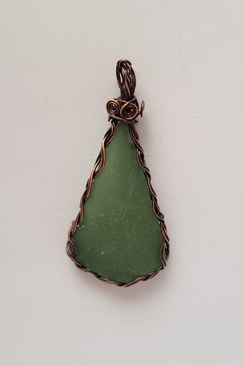 Mint seaglass and copper braided pendant