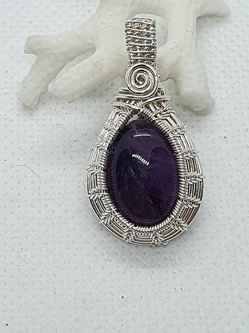 Deep purple amethyst and silver wire woven pendant necklace