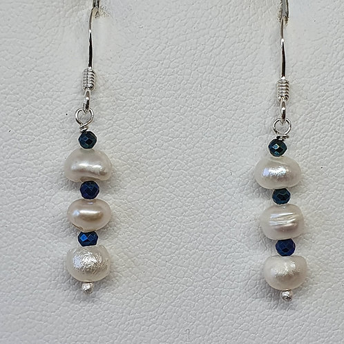 Spinel and cultured freshwater pearl sterling silver earrings