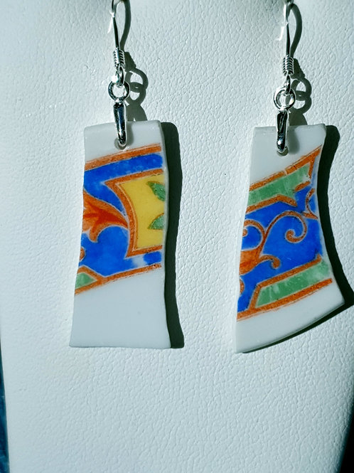 Mudlarked wabi sabi orange, blue and white bone china sterling silver earrings