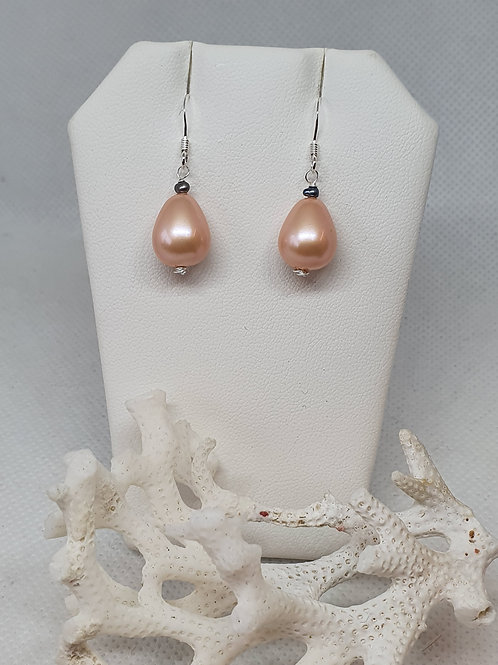Pink shell pearl & peacock freshwater cultured pearl sterling silver earrings