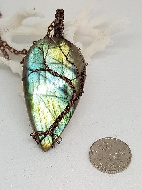 Large labradorite tree of life pendant