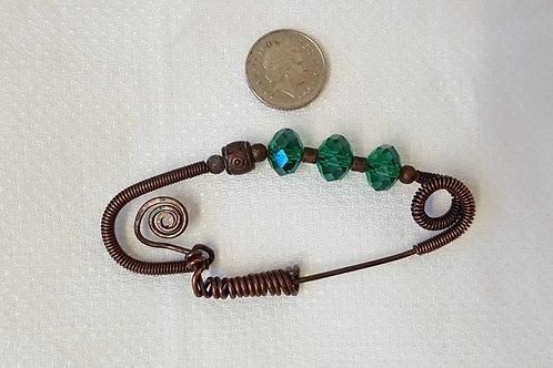 Green crystal fibula shawl pin brooch