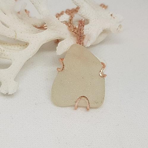 Sea glass and rose gold coloured copper wire pendant