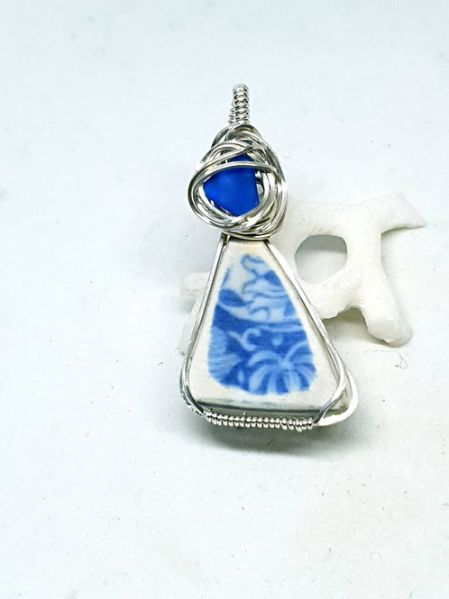 Mudlarked blue and white pottery and glass pendant necklace