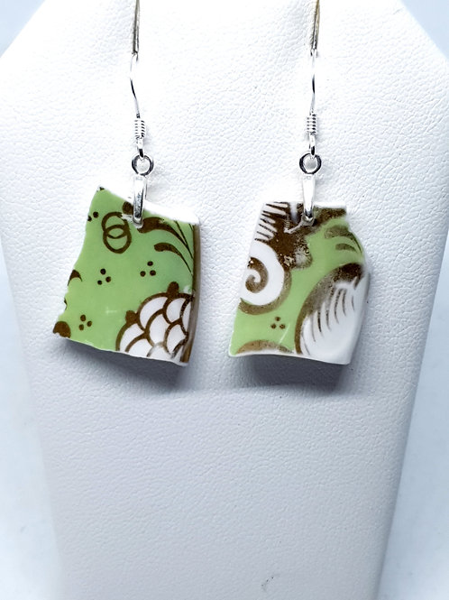 Mudlarked wabi sabi green and white  bone china sterling silver ear
