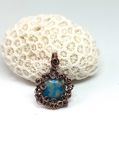 Swirly turquoise bead and patinated copper pendant ne