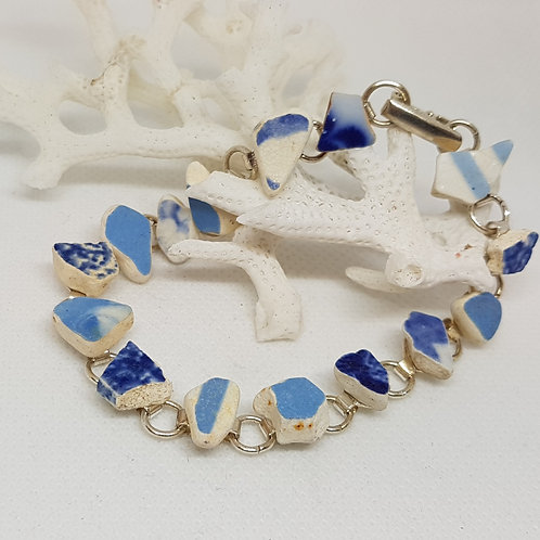 Irish sea pottery blue and white silver-plated bracelet