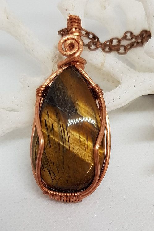 Tigers Eye and copper wrapped pendant