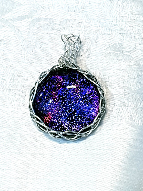Purple dichroic glass and silver braided pendant necklace