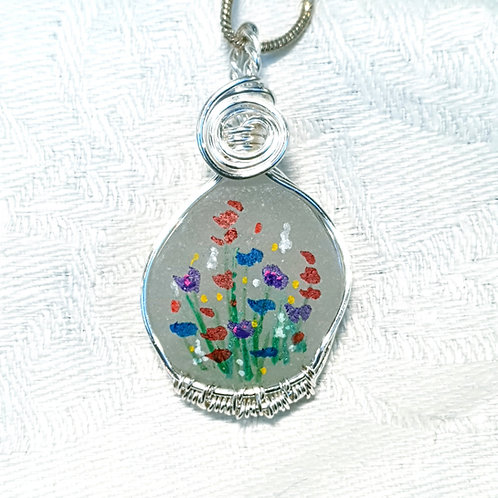 Handpainted seaglass hand woven silver pendant necklace