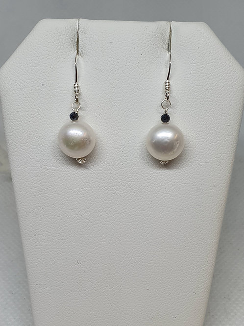 Button cultured freshwater pearl and spinel sterling silver earrings