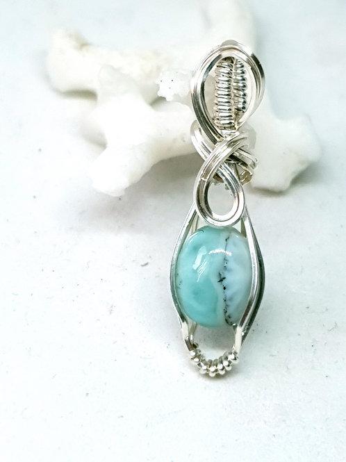 Dainty  larimar hand woven silver pendant necklace