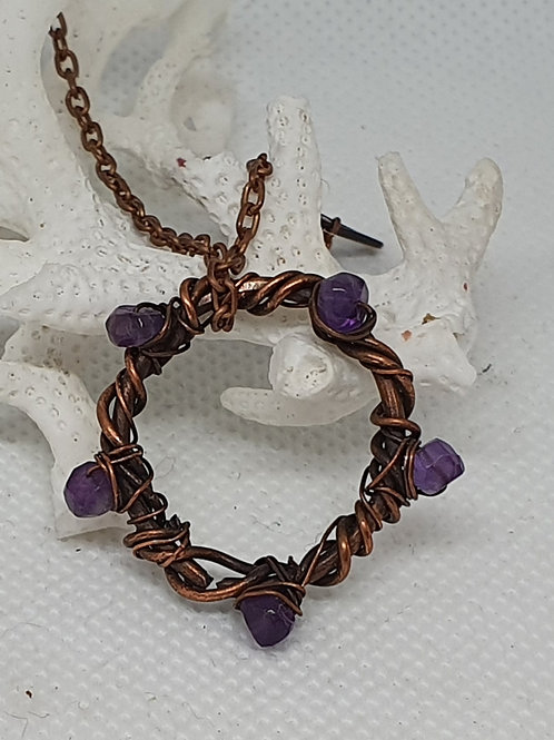 Copper and amethyst woven pendant necklace