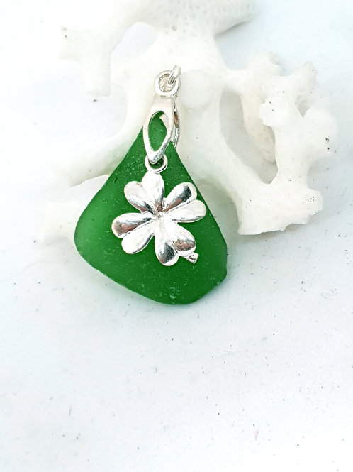 Emerald green seaglass with four leaf clover sterling silver pendant necklace