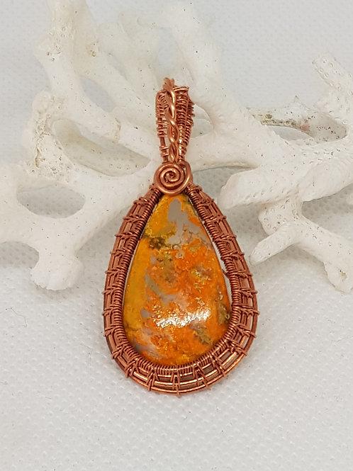 Bumble bee jasper copper pendant