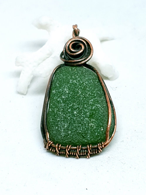 Irish seaglass vintage deep emerald green seaglass copper pendant necklace