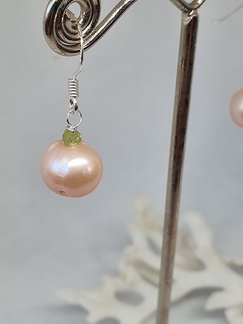 Pink freshwater pearl and peridot sterling silver earrings