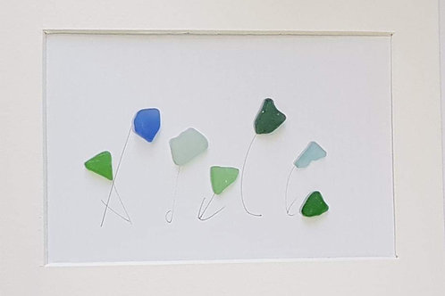 Personalised seaglass name picture.