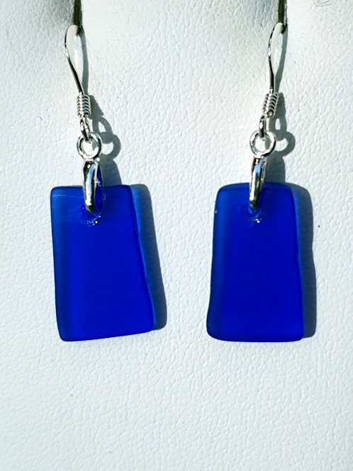 Mudlarked wabi sabi blue glass sterling silver earrings