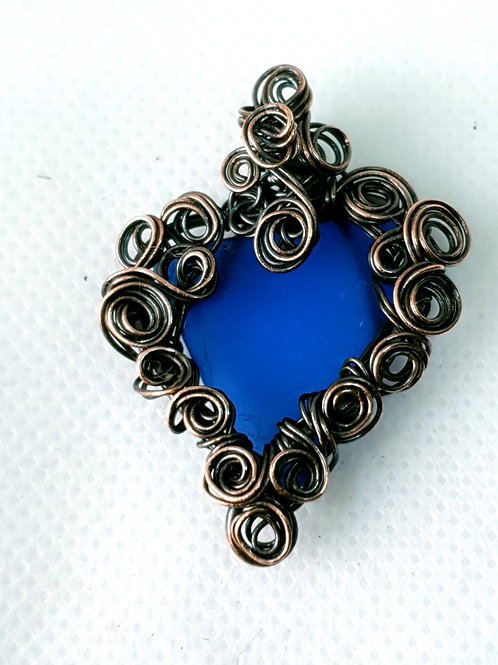 Mudlarked cobalt blue glass and copper hand woven copper pendant necklace