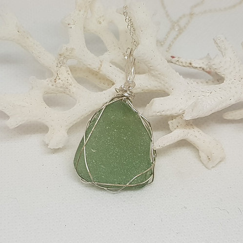 Mint seaglass and silver plated copper wire pendant