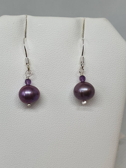 Purple Freshwater cultured pearl and amethyst sterling silver earrings