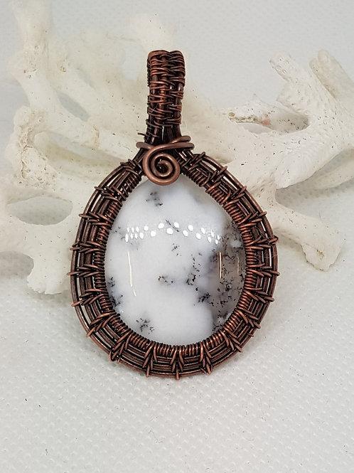 Dendrite woven copper pendant necklace