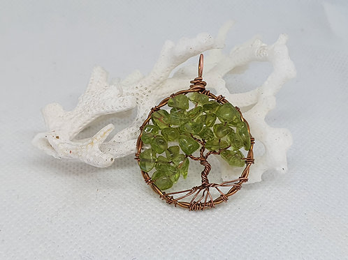 Peridot and Copper Tree of Life Pendant Necklace