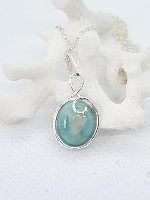 Dainty  larimar hand woven silver swirl pendant necklace