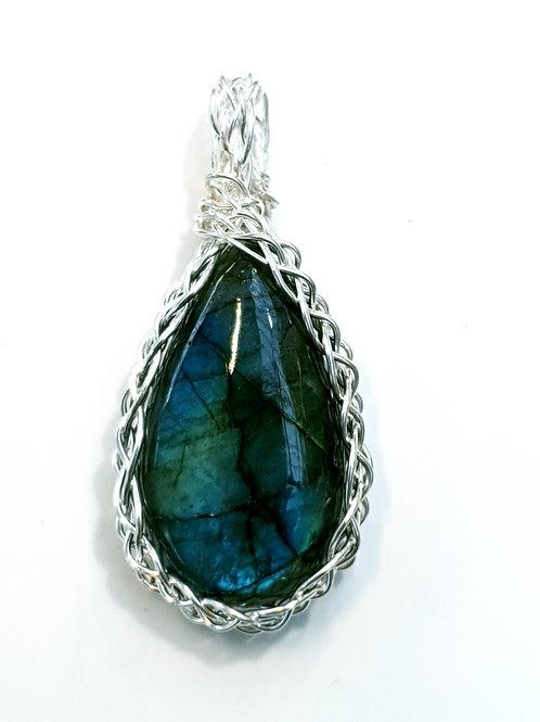 Blue labradorite and silver kumohimo braid pendant necklace
