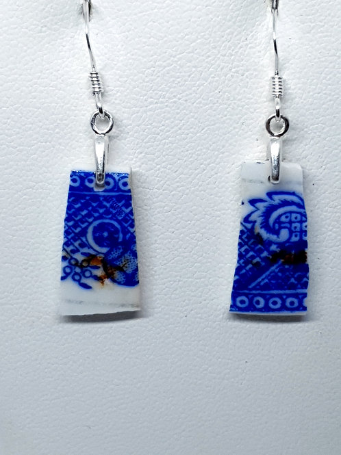 Mudlarked wabi sabi blue and white bone china sterling silver earrings