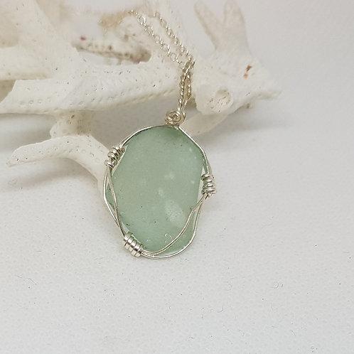Irish seaglass - Dainty aqua blue seaglass silver pendant necklace