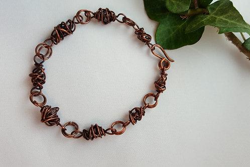 Chaos wrap bead copper bracelet