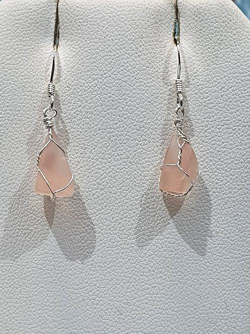 Mudlarked vintage pink glass sterling silver earrings